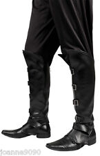 Para Hombre Steampunk Pirata Medieval Negro Fancy Dress Costume zapato bota cubiertas superior BN
