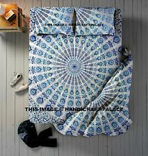 Peacock Indian Duvet Doona Cover With Mandala Tapestry & Pillow Covers Bed Set