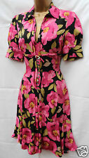 Karen Millen 1940s Black Pink Silk Floral Shirt Tea Cocktail Party Dress SZ 10