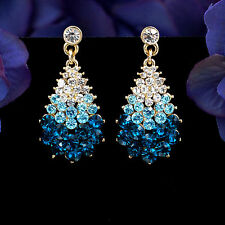 New 18K Gold Plated GP Blue Crystal Rhinestone Drop Dangle Earrings 00841