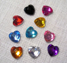 LOT de 10 COEURS STRASS FACETTE MULTICOLORES **8 x 8 mm** scrapbooking carterie