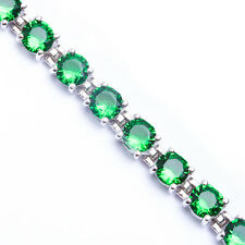 10 CARAT BEST QUALITY ROUND GREEN EMERALD .925 Sterling Silver Bracelet 7""