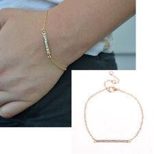 Dainty Rhinestone Bar Bracelet Gold Chain Charm Bracelet Women Fashion Jewelry