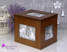 Brown Wooden Box Hold Frame Photo Box Album Wedding Gift Open Lid