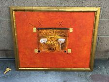 Original Abstract Art Acrylic on Canvas Framed Painting from Auction House