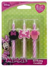 MINNIE MOUSE Pink Black Bow Striped (6) Birthday Party Cake Topper CANDLES