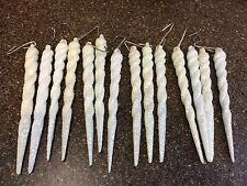 Lot 14 Icicles Christmas Tree Ornaments Holiday Winter Frozen White Glitter