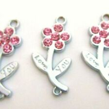 10 Love You Flower/Stem Pink Crystal Rhinestone Silver Plated Charm/Pandent K94