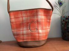 HENRY BROWN bucket bag purse tote 12 x 14 orange plaid flannel initial C