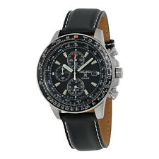 Seiko Flight Black Dial Chronograph Leather Strap Mens Watch SSC009P3
