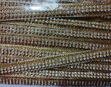 Diamond studded Designer Fancy Golden Lace piece 4.5 mtr for dress kurti sarees