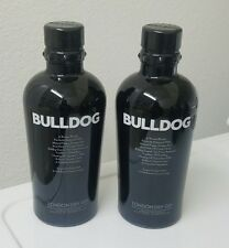 2 Empty BULLDOG GIN bottle 1 Liter size BLACK Glass Spikes Lamp craft man cave