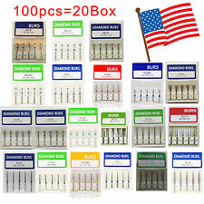 100pcs Dental Diamond Burs for High Speed Handpiece Medium FG 1.6M Brand New USA