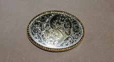 Oval Engraved Antique Silver Plaited Classic Trophy Belt Buckle Large no36