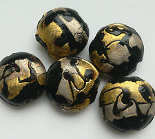 5 Lampwork Rounded Beads, Black/Silver/Gold. 20mm.  For Jewellery Making/Crafts