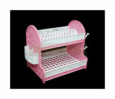 2Tier Plastic Dish Drainer 2 Drip Trays Cutlery Plates Rack Kitchen White & Pink