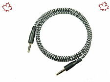 Black 3.5mm Braided Male to Male Stereo Audio Auxiliary AUX Cable PC MP3 CAR