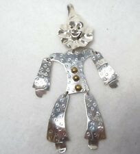 Whimsical Sterling Silver Clown Pin w/ Jointed arms and legs
