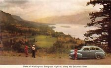 EVERGREEN HIGHWAY WA~ALONG COLUMBIA RIVER~1940's SUICIDE DOOR CAR FORD? POSTCARD