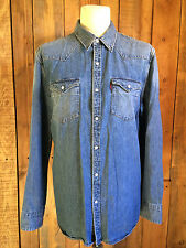 vtg LEVIS denim WESTERN cowboy SHIRT xl 46 chest RED TAB faded SLIM FIT hipster