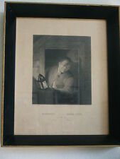 Antique Framed A.H. Payne sc.Etching Steel Engraving GENRE PIECE OSTADE Florence