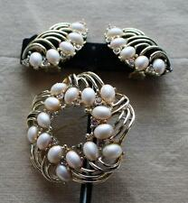 Vintage Signed MARBOUX Goldtone Faux Pearl Set Clip-On Earrings Pin Brooch #704
