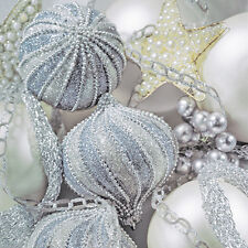 40 pcs Christmas Paper Luncheon Napkins PEARL SILVER Baubles Decorations