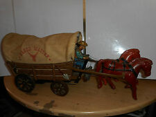 tole modern toys wagon master  chariot ouest americain wild west tin toy - japan