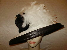 Kentucky Derby Hat BOATERS HAT FLIPPED UP OR DOWN BRIM Black and White Feathers