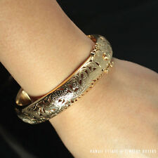 MING'S HAWAII 14K GOLD HINGED 13MM BANGLE BRACELET MINGS DRAGON PHOENIX JEWELRY