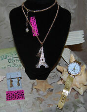 BETSEY JOHNSON 3 PC SET CRYSTAL DOUBLE EIFFEL TOWER PENDANT EARRINGS GOLD WATCH
