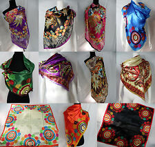 US SELLER-lot of 5 floral bohemian large silky satin square scarf wrap 39""