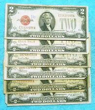 1928 D, E, F, G (6)-Notes $2 Red Seal US Note Two Dollar Bill - Lot #7