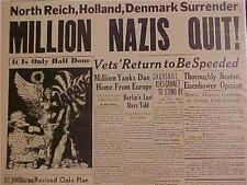 VINTAGE NEWSPAPER HEADLINE ~WORLD WAR 2 GERMAN REICH NAZIS ARMY SURRENDERS WWII~