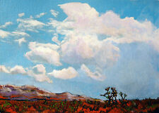 OIL PAINTING HAND PAINTED JOSHUA TREE CACTUS CLOUDS MESAS  5 X 7 INCHES