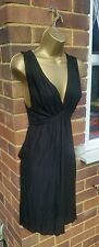 French Connection sz 8 Grecian Tie back Black Jersey V-Neck Dress