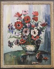 FRAMED OIL ON BOARD PAINTING by J.H.HUMPHREY 1947 A STILL LIFE STUDY OF FLOWERS