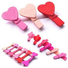 Hot 12Pcs Wooden Cartoom Colorful Loving Heart Shaped Clothespin Clips 3.5*0.7cm