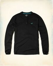 BNWT Hollister by Mens Black Henley Long Sleeve T Shirt. Size S. Gift.