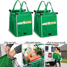 Eco-friendly Reusable Supermarket Trolley Shopping Grocery Grab Bag Green HOT