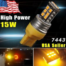 Amber/Yellow 7443 15W High Power LED Bulb Turn Signal Blinker Light 7444 7440