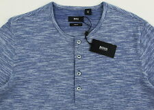 Men's HUGO BOSS Blue White Henley Knit Shirt Medium M NWT NEW $115+ Slim Fit
