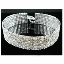 8 Rows CLEAR RHINESTONE STRETCH Necklace Choker Wedding Bridal Prom Party