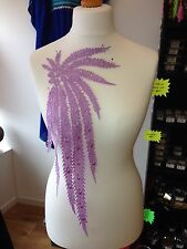 Lilac Peacock embroidered lace applique motif patch costume
