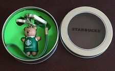 NIB Starbucks Thailand Barista Bear Green Apron Keychain / Key Ring (No card)