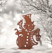 Bonhomme de neige lanterne K décoration métal jardin terrasse Hiver Noël Advent