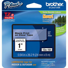 Brother TZe151 24mm black on clear Ptouch tape PT7500 PT7600 PT9700PC PT9800PCN