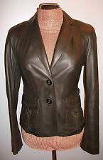 Womens Karen Millen Real Genuine Soft Brown Leather Jacket Blazer Coat UK10 US6