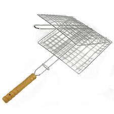 Non-Stick BBQ Grilling Basket with Bamboo Handle New