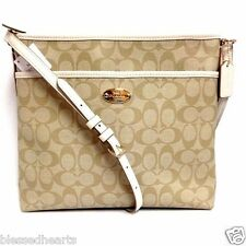 COACH Crossbody Purse Bag Messenger Sig C PVC 34938 Khaki Chalk Authentic  NWT